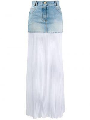 Синяя классическая юбка макси со складками на молнии Balmain