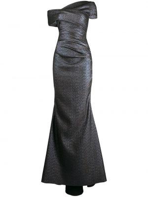 Хлопковое приталенное серое платье со спущенными плечами Talbot Runhof