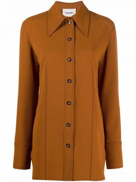 Коричневый пиджак на пуговицах Nanushka