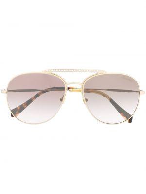 Золотистые желтые солнцезащитные очки Miu Miu Eyewear