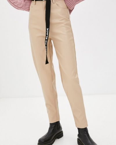 Бежевые кожаные брюки Fadjo