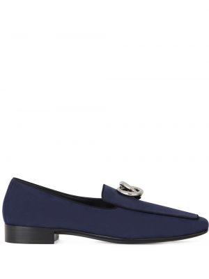 Niebieski zamsz loafers na pięcie Giuseppe Zanotti