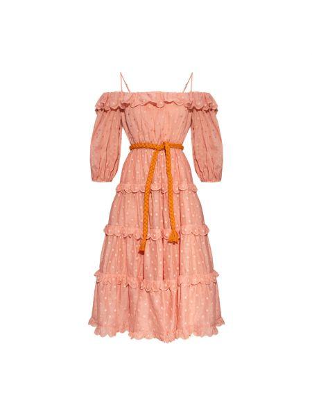 Różowa sukienka z odkrytymi ramionami Zimmermann