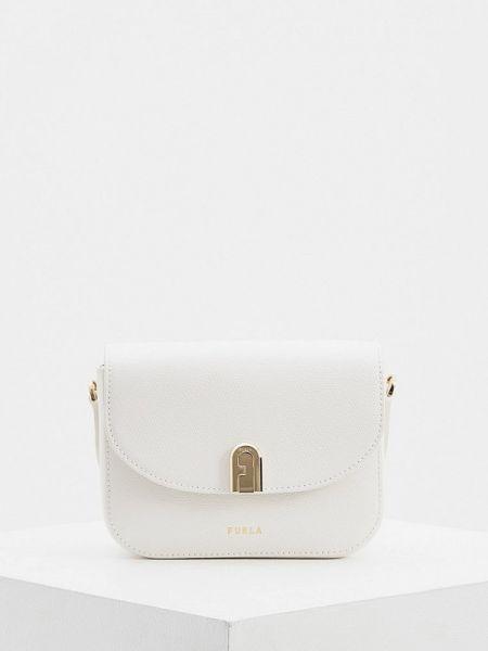 Белая сумка через плечо из натуральной кожи Furla