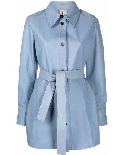 Синее пальто классическое с воротником на пуговицах Lautre Chose