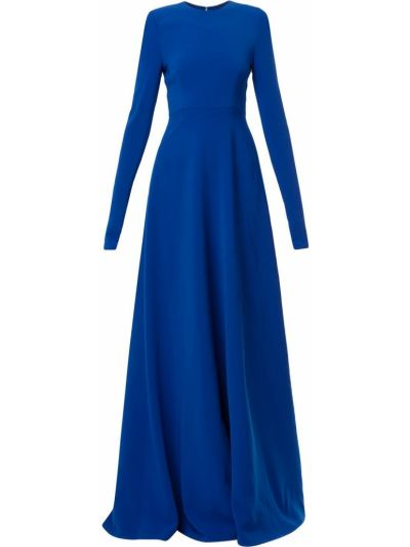 Плиссированное платье макси со складками с длинными рукавами с вырезом Carolina Herrera