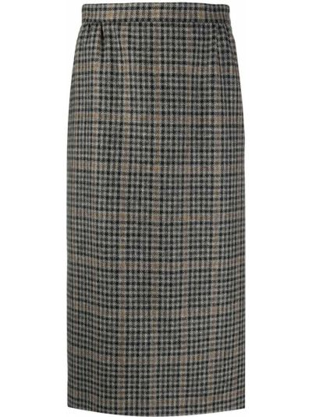 Шерстяная серая юбка карандаш на молнии со шлицей Maison Margiela