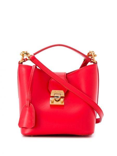 Кожаная золотистая красная кожаная сумка с карманами Mark Cross