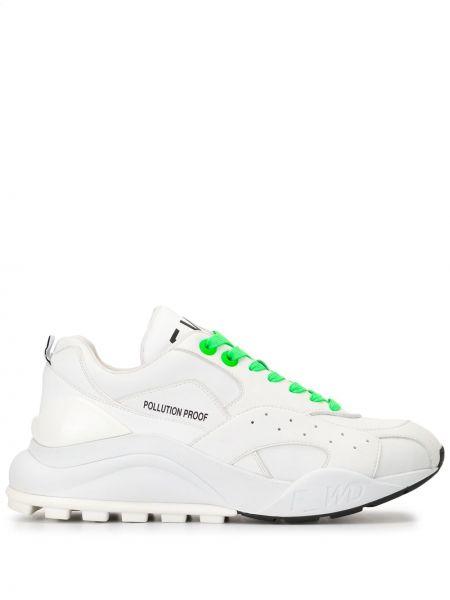 Zielone sneakersy skorzane sznurowane F_wd