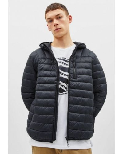 Утепленная куртка демисезонная черная Bershka