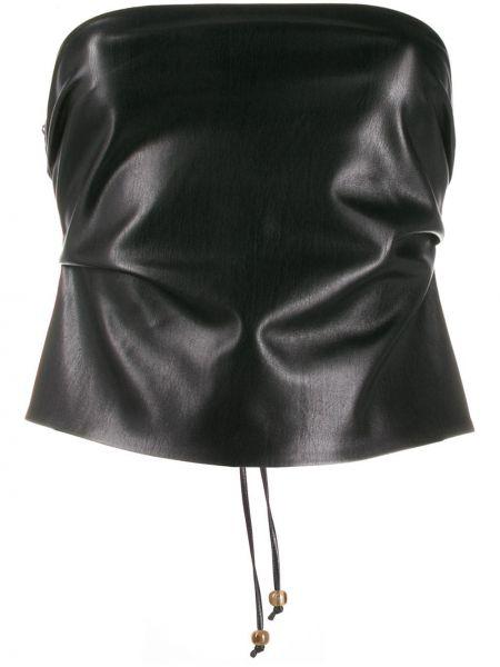 Czarny top koronkowy sznurowany Nanushka