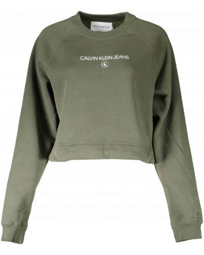 Zielony bluzka z długimi rękawami z haftem Calvin Klein