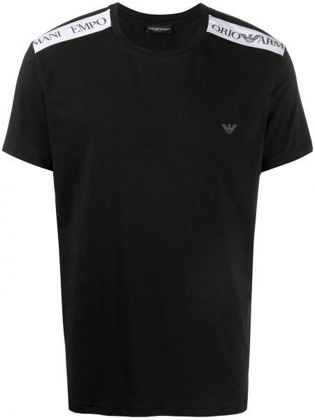 Koszula krótkie z krótkim rękawem z logo prosto Emporio Armani