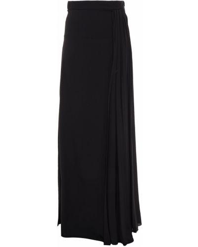 Шелковая черная плиссированная юбка макси Lanvin