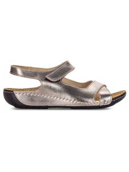 Кожаные сандалии - серебряные Gunter