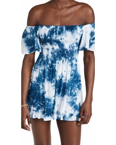 Платье мини с декольте стрейч с опушкой Tiare Hawaii
