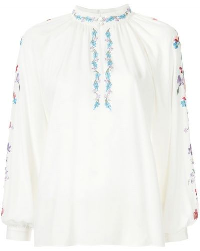 Блузка с длинным рукавом с вышивкой с воротником-стойкой с цветочным принтом Vilshenko