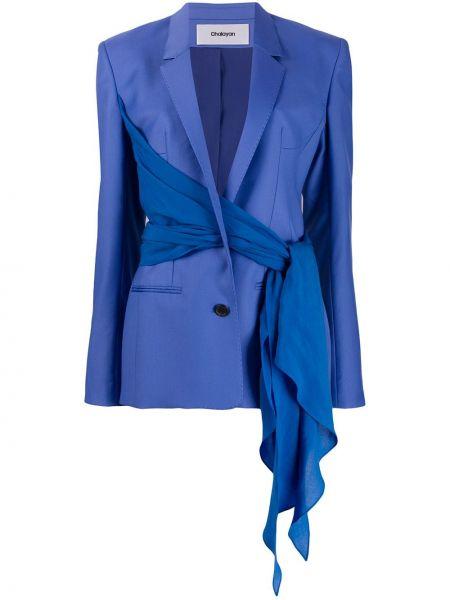 Синий пиджак с запахом Chalayan