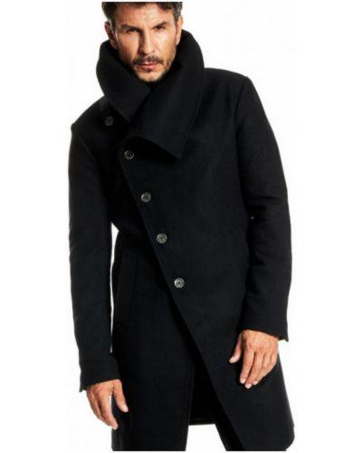 Czarny płaszcz wełniany asymetryczny Reykjavik District