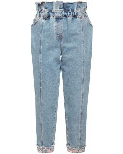 Синие прямые джинсы на резинке с манжетами Philosophy Di Lorenzo Serafini
