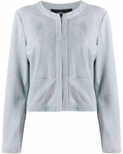 Синяя кожаная куртка с отворотом Arma