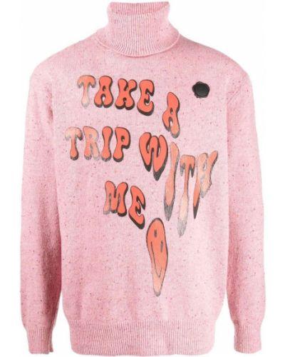 Różowy sweter z printem Viktor & Rolf