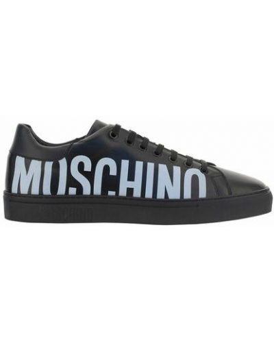 Buty sportowe skorzane - czarne Moschino