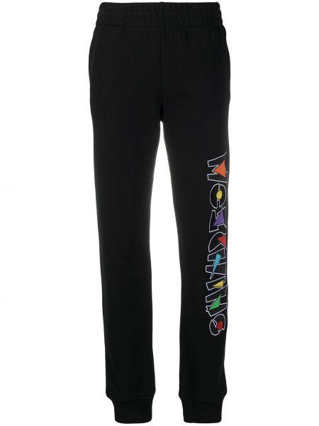 Хлопковые черные спортивные брюки с поясом Moschino