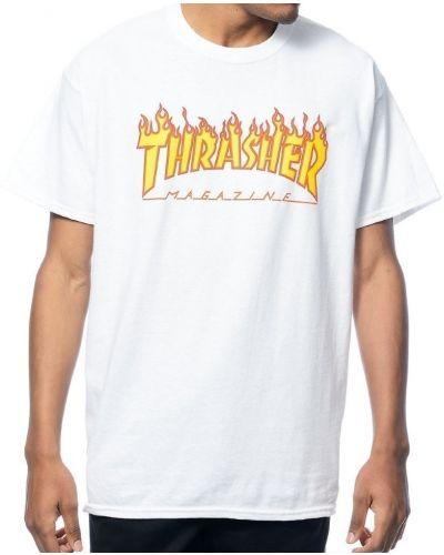 Белая футболка с логотипом Thrasher