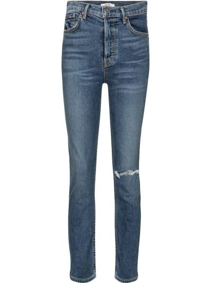 Ватные хлопковые синие зауженные укороченные джинсы Grlfrnd