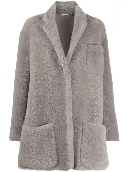 Свободное кожаное пальто оверсайз с карманами из овчины Thom Browne