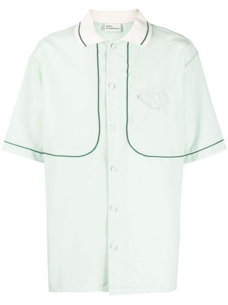 Klasyczna zielona koszula krótki rękaw Drole De Monsieur