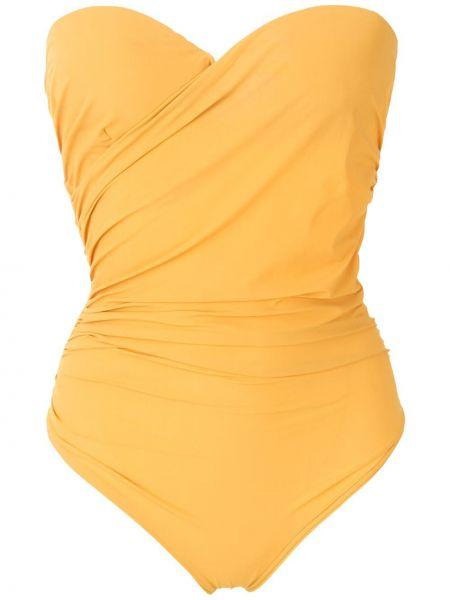 Желтый купальник бандо с подкладкой с вырезом Amir Slama