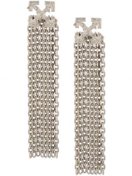 Białe kolczyki sztyfty srebrne Off-white