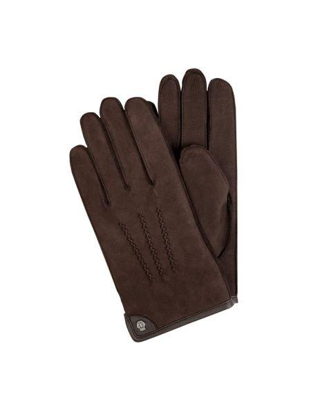 Skórzany brązowy skórzany rękawiczki prążkowany z nitami Roeckl