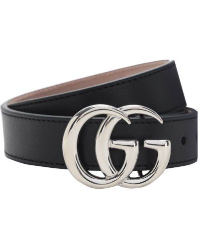 Czarny skórzany pasek z paskiem z klamrą Gucci
