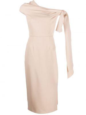 Beżowa sukienka długa z jedwabiu bez rękawów Roland Mouret