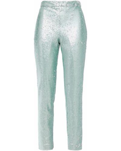 Бирюзовые текстильные брюки с пайетками Badgley Mischka