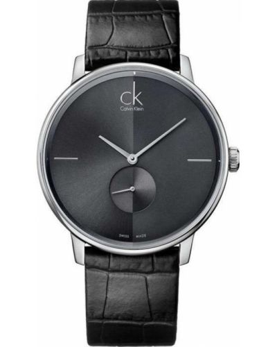 Czarny zegarek na skórzanym pasku skórzany kwarc Calvin Klein