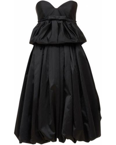 Платье атласное - черное Lanvin