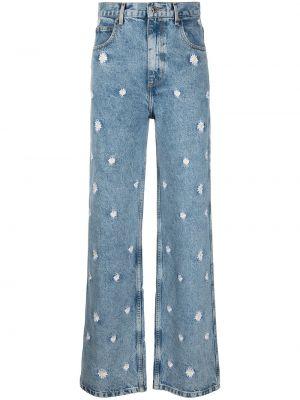 Синие с завышенной талией широкие джинсы с вышивкой Sandro Paris