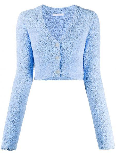 Niebieski kardigan z dekoltem w szpic z długimi rękawami Helmut Lang