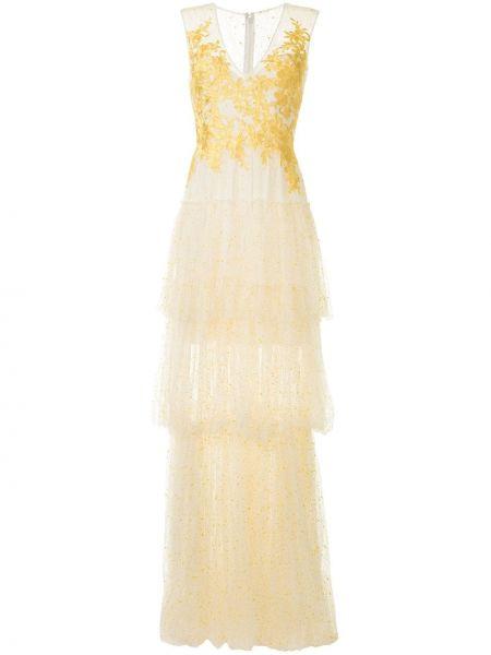 Вечернее платье с вышивкой с цветочным принтом Costarellos