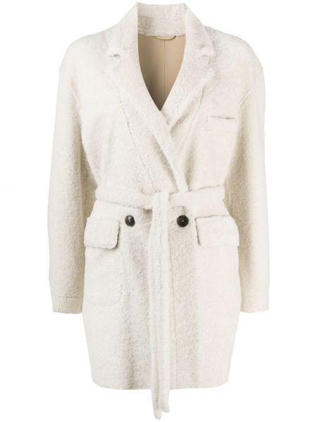Белое кожаное пальто классическое на пуговицах Simonetta Ravizza