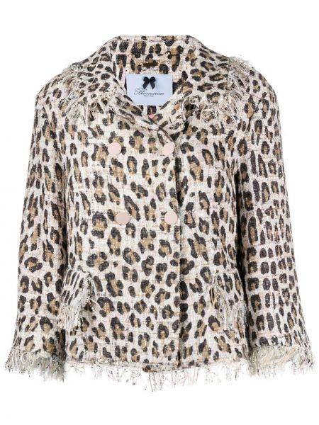 Коричневый пиджак двубортный с карманами Blumarine