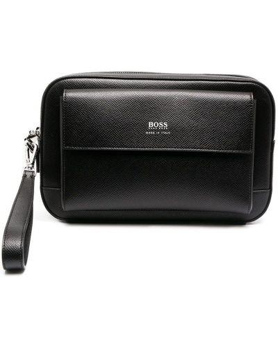 С ремешком кожаный черный клатч Boss Hugo Boss