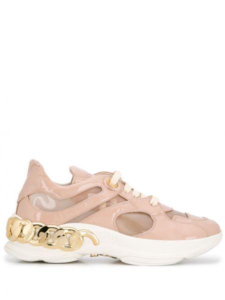 Różowe sneakersy skorzane Casadei