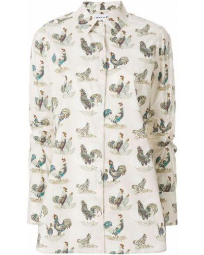 Рубашка с длинным рукавом белая с принтом Carven