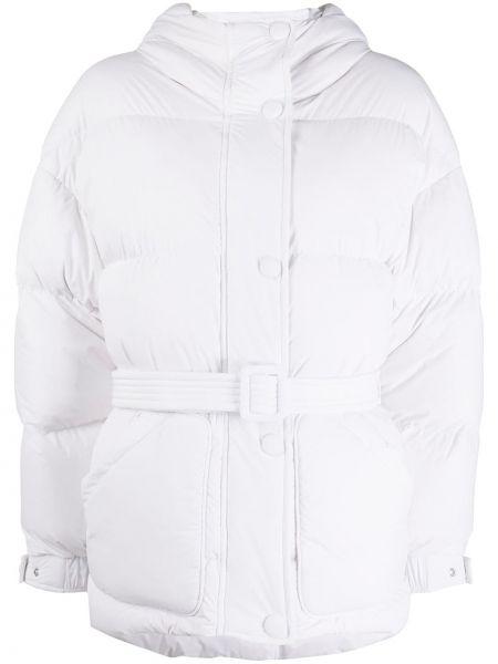 Белая классическая нейлоновая стеганая куртка на кнопках Ienki Ienki