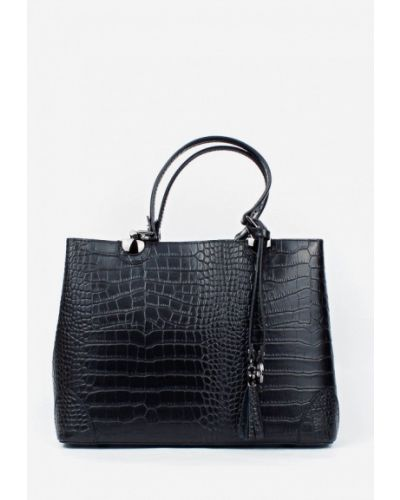 Черная кожаная сумка с ручками Bella Bertucci